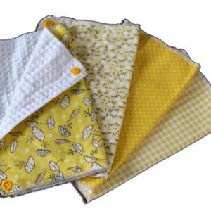 Lot essuies tout lavables, motifs jaunes