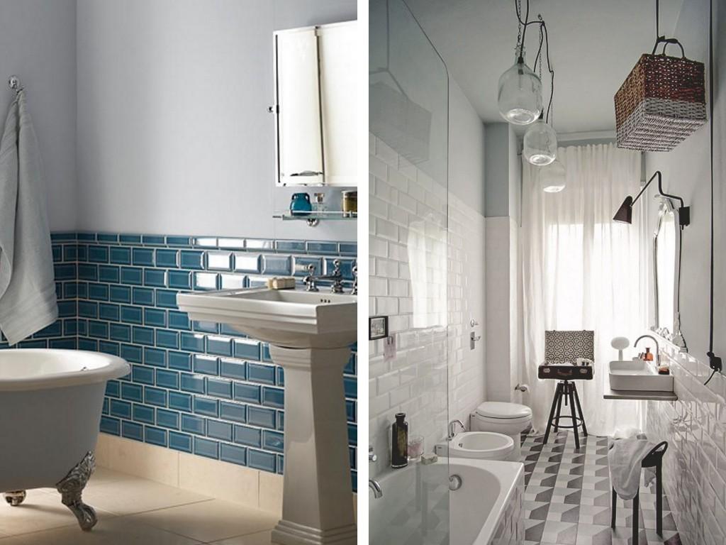 Salle De Bain Faience Bleu | Un Carrelage Blanc Gris Bleu Mural Pour ...