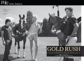 Gold Rush editorial in August issued of POLO magazine, featuring luxury Ipanima necklace, made with hand-dyed silk and dipped in gold clear crystals