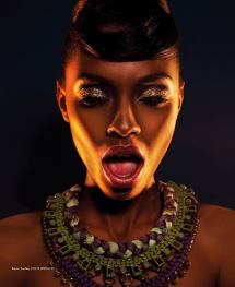 Neon Dreams editorial with Jolita Jewellery pieces published in FashizBlack magazine, November - December Issue 2013. A model is wearing Barcelona, Milan and Damascus necklaces by Jolita Jewellery.