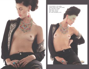 Nostalgia editorial published in November issue of Switch Magazine. The model is in hand-painted Carnival necklace and colourful Kniginia earrings both by Jolita Jewellery