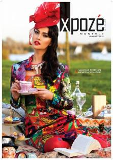 Luxury Cairo statement necklace by Jolita Jewellery on the cover of Xpose magazine's January 2014 issue.