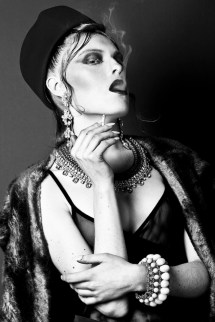 From OOH-LA-LA editorial for Planet Notion, published February, 2014 - model Anna Tatton is wearing Jolita Jewellery's double collar Antibes statement necklace and clear crystal Duchess earrings