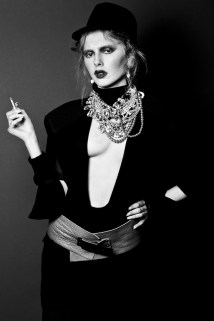 From OOH-LA-LA editorial for Planet Notion, published February, 2014 - model Anna Tatton is wearing Jolita Jewellery's Attention Seeker necklace, made with multi strands of crystals and pearls, and Skull Joker earrings