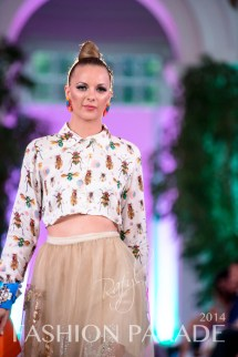 Fashion Parade 2014 - in hand-painted Madrid statement earrings by Jolita Jewellery, Zara Shahjahan clothes