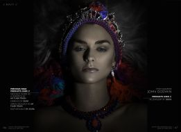 TWO Magazine - in Jolita Jewellery's Skull and tassel earrings, Madeira necklace, and worn as headpieces - Verona and Cairo necklaces, made mixing silk and crystals