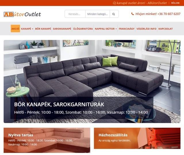 AButor Outlet-honlap nyitókép kanapékkal.