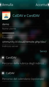 Account CalDAV e CardDAV