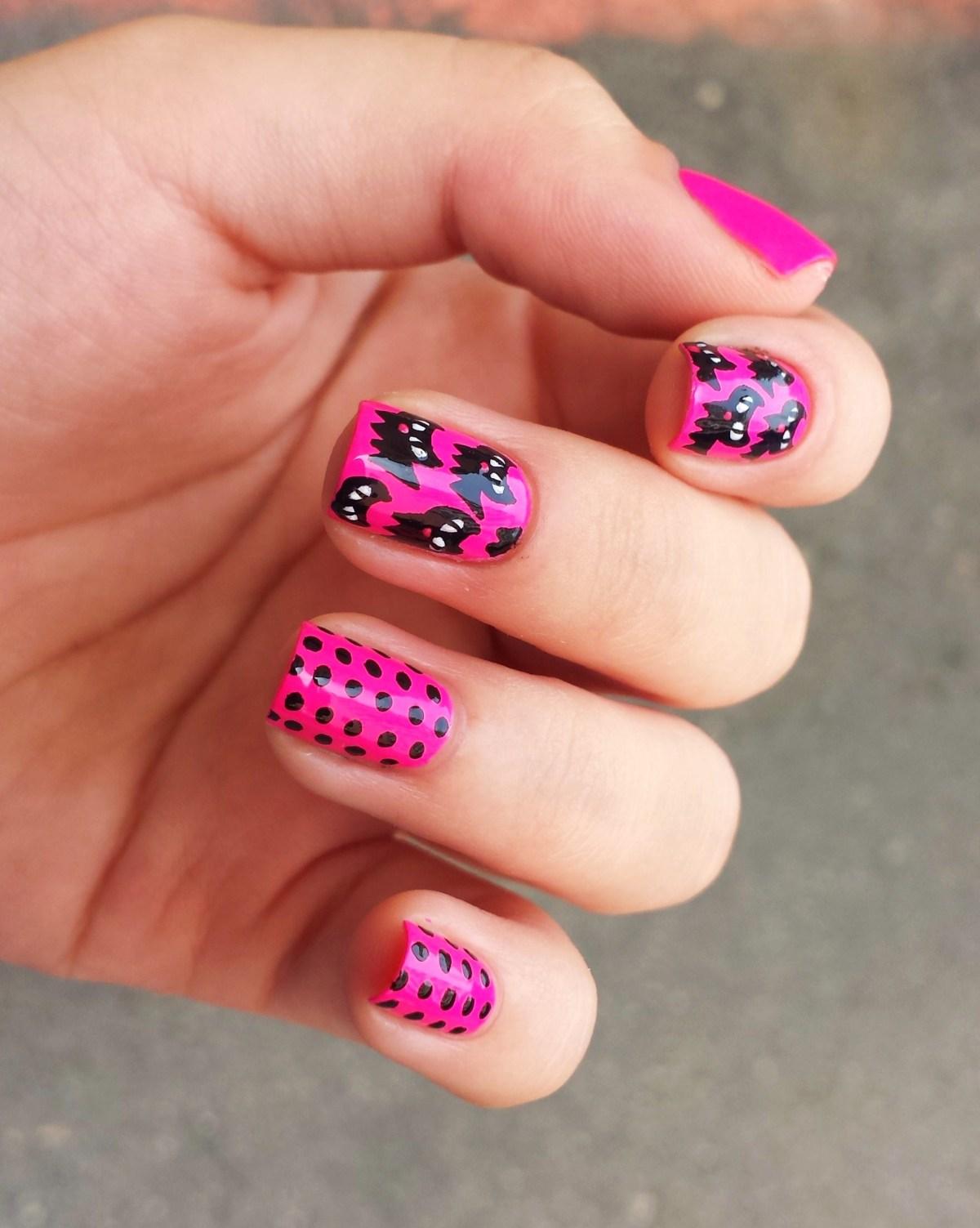 neon pink black cat halloween nails