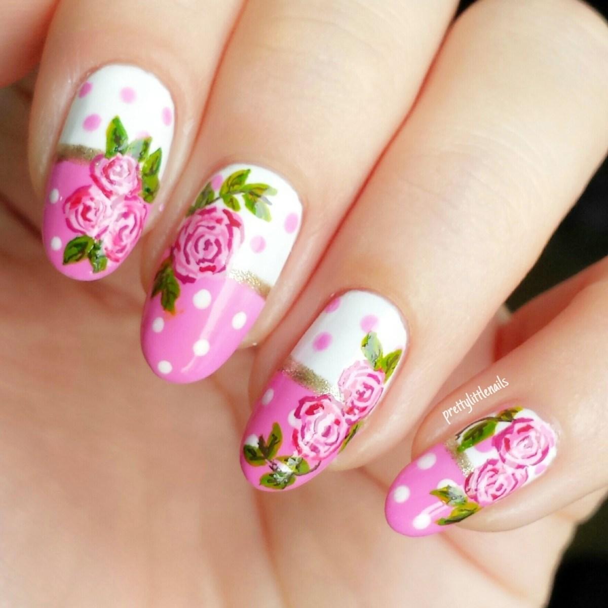 polkadots and roses nail art mini