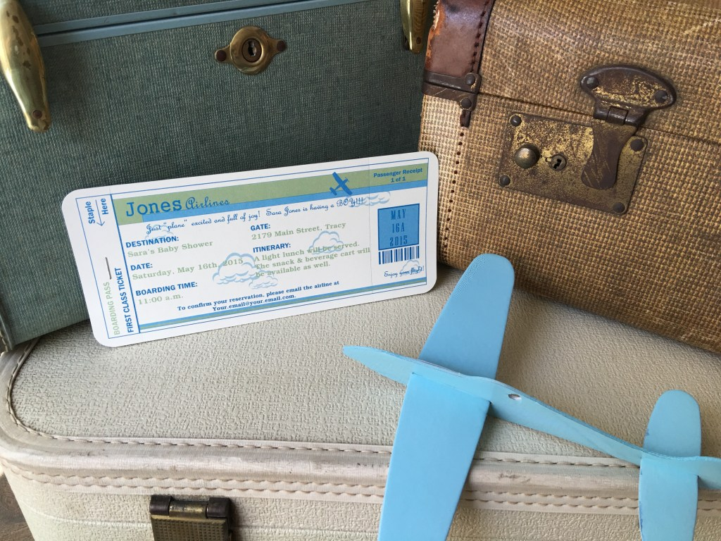 Airplane baby shower invite