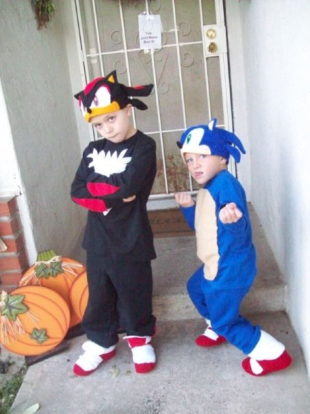 Sonic and Shadow costumes jolly and happy