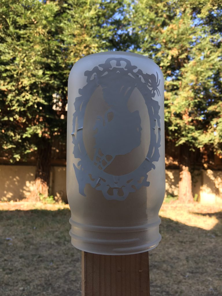 halloween silhouette etched jars