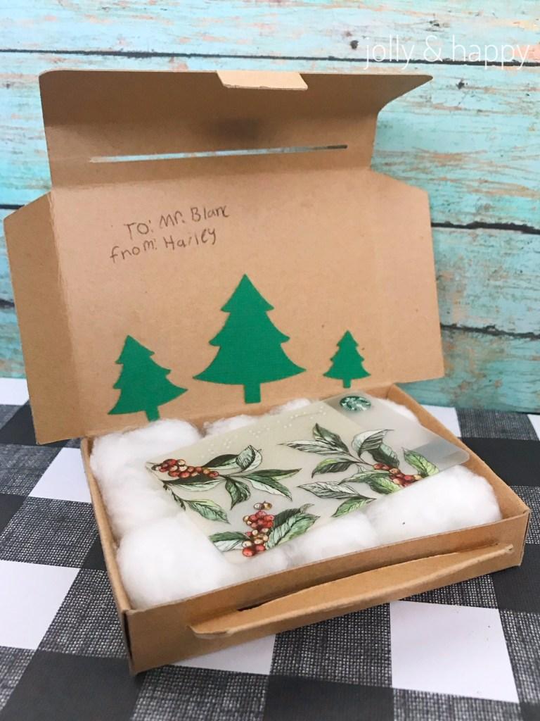 Cricut teacher gift christmas vacation gift card holder