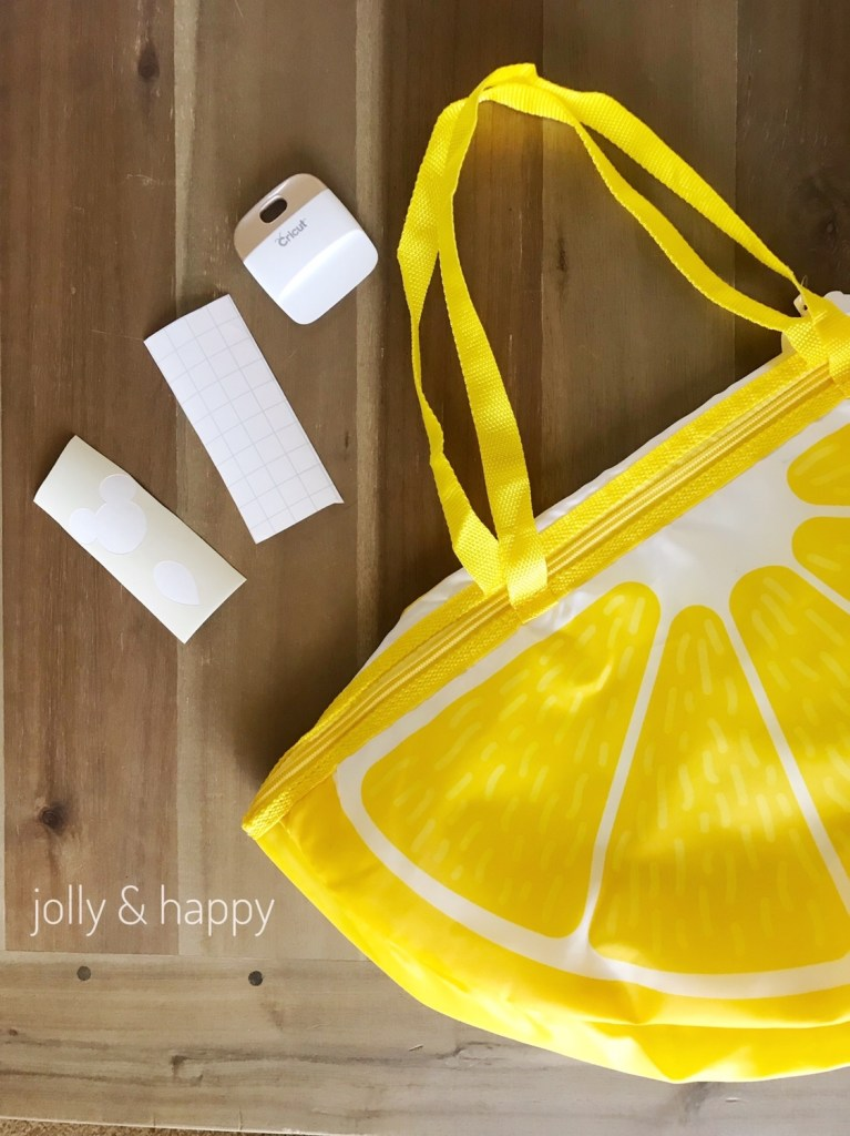Cricut Stencil applied to Target Lemon Wedge Cooler Bag