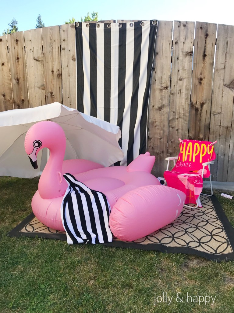pink flamingo floaty photo backdrop