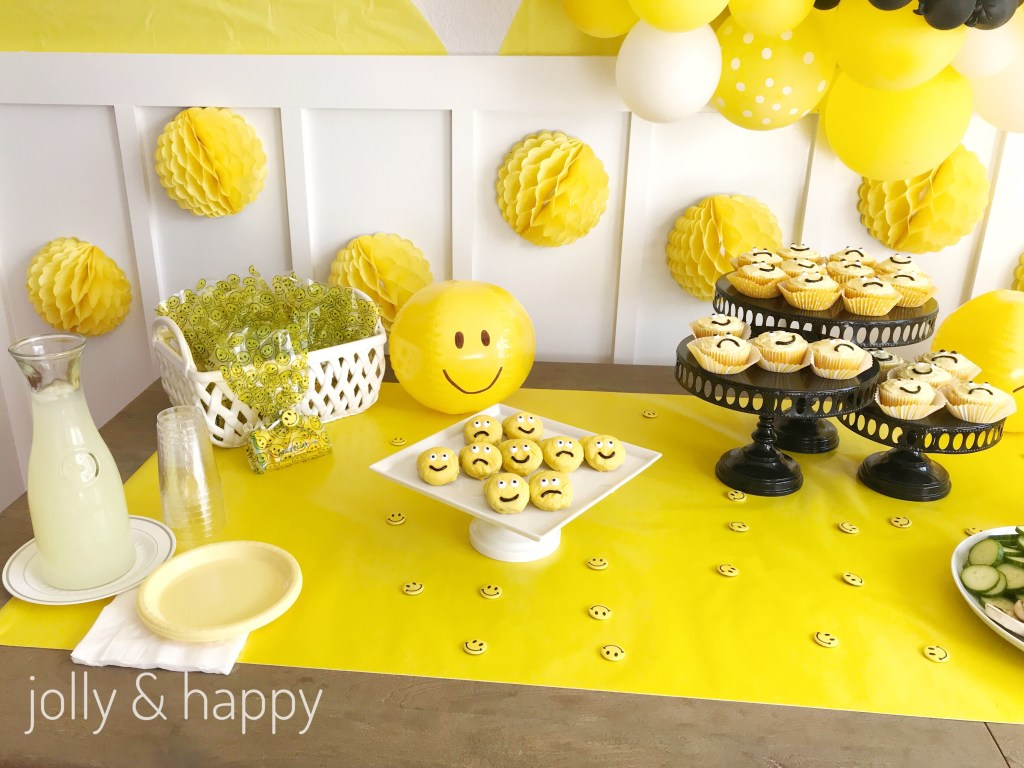 be happy yellow party for back to school moms