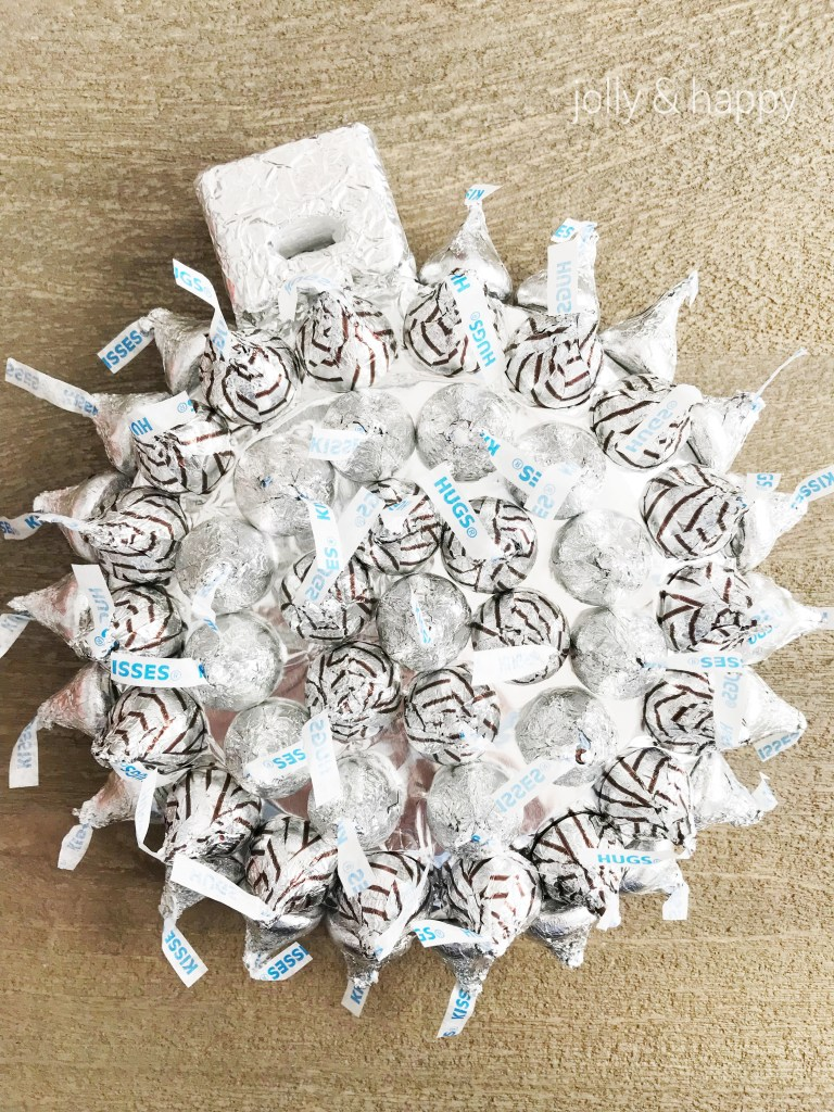 Make any pattern on your ornament with your Hershey kisses