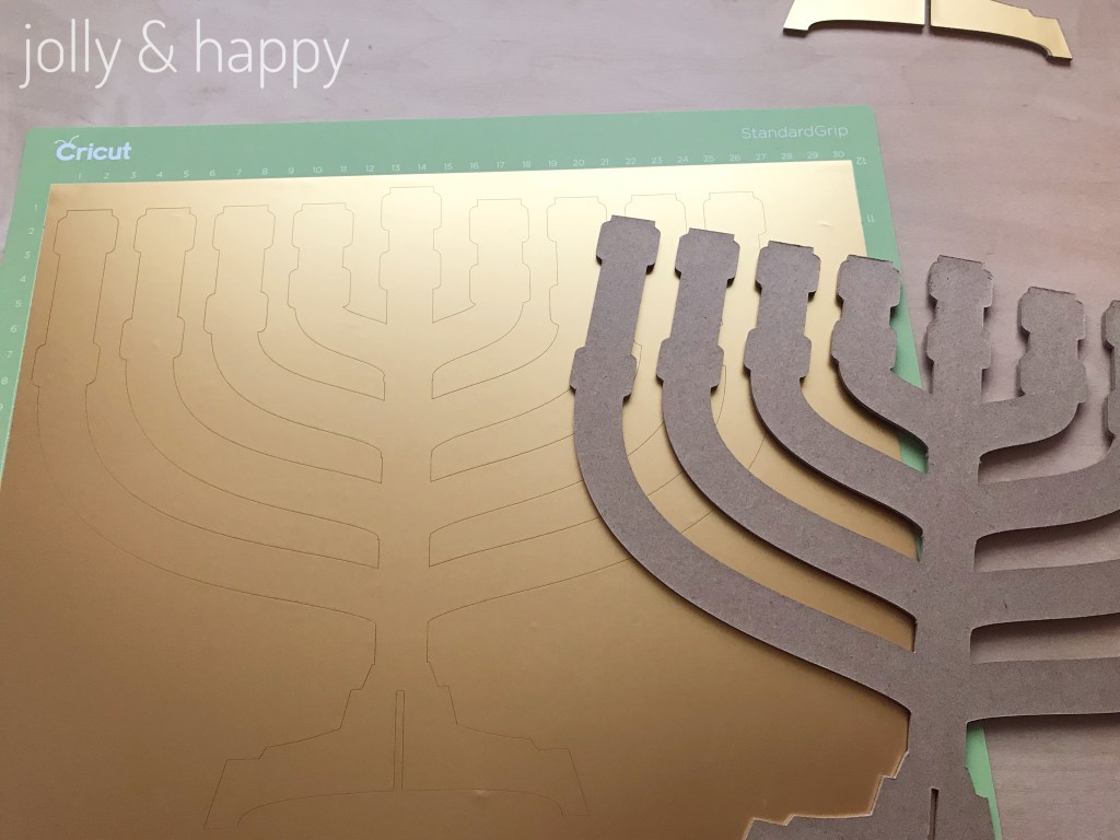 cricut adhesive foil to make your menorah gold