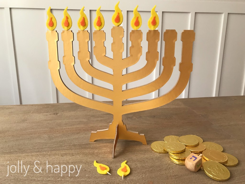 Diy Menorah for kids Hanukkah celebration