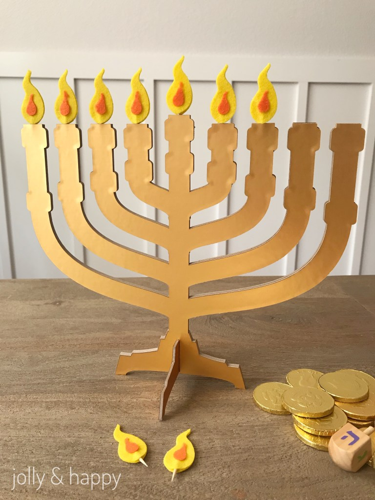 Easy Kid friendly DIY menorah using Circut