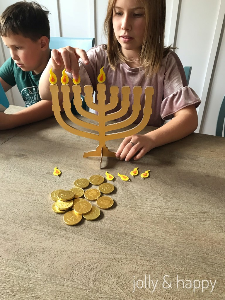 felt flame DIY menorah