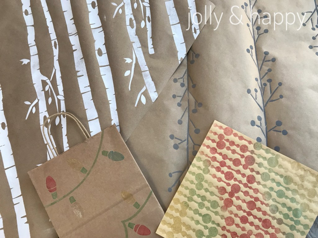 DecoArt Stencils make great wrapping paper variations