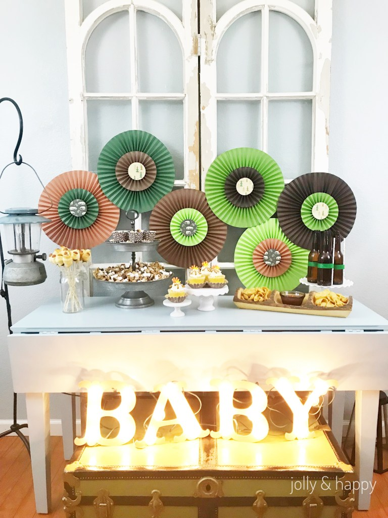 camping baby shower dessert table