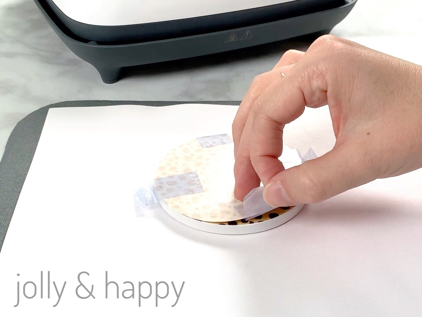 Peel back the Circuit Infusible Ink transfer paper to reveal the design on your coaster