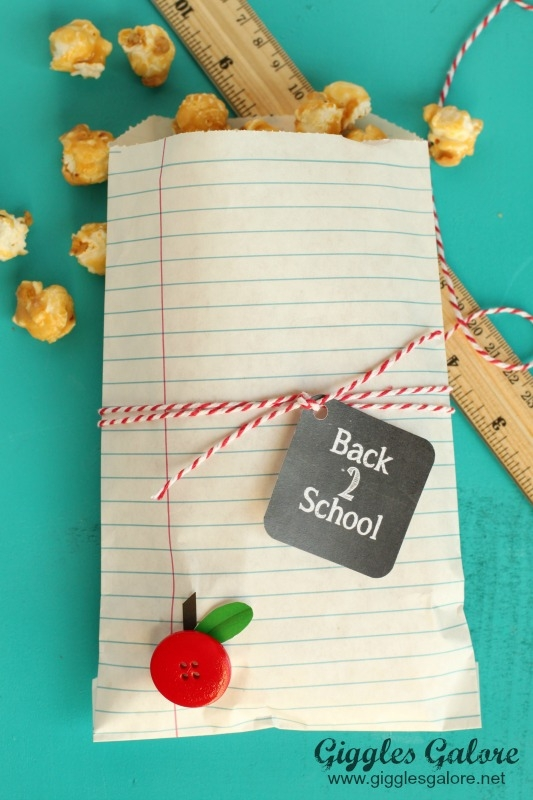 notebook paper bag school treats