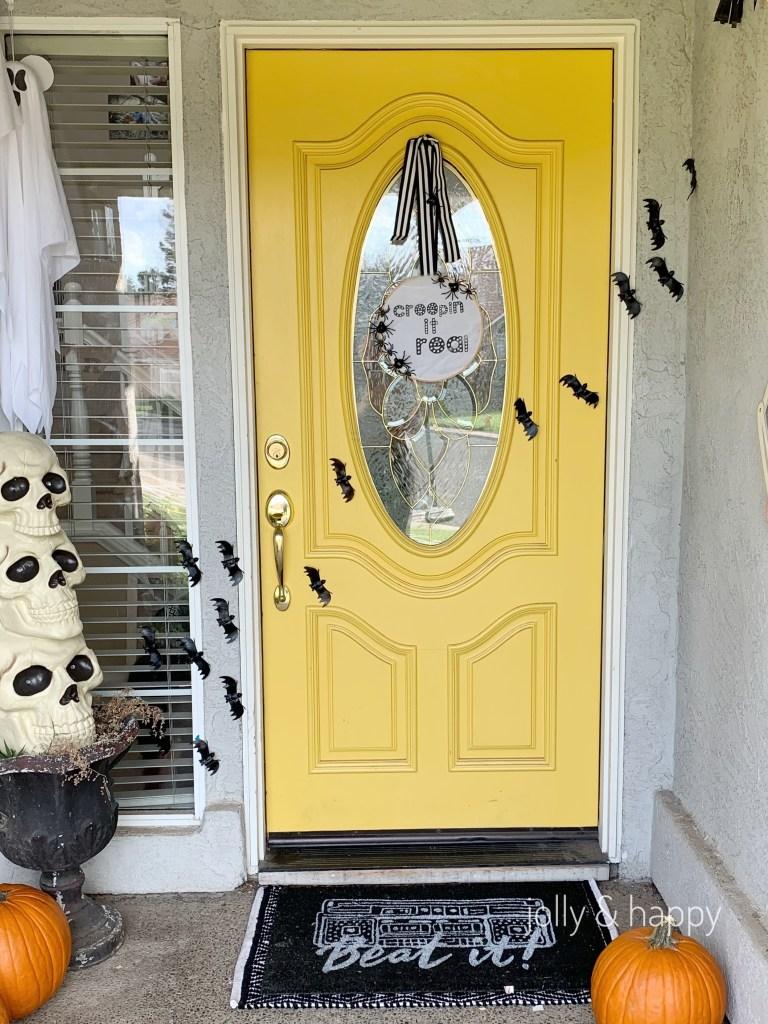 Halloween door decor hoop wreath