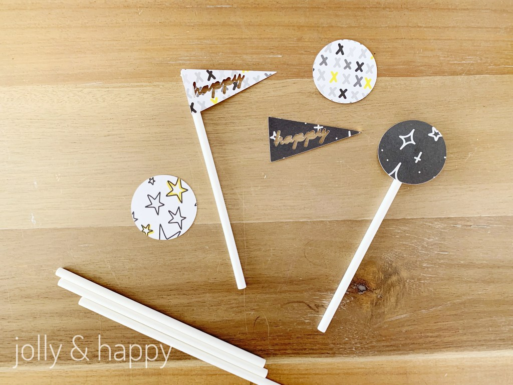 Cupcake toppers made with Cricut Deluxe Paper