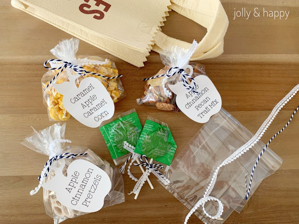 use cute ribbon to finish off treat bags