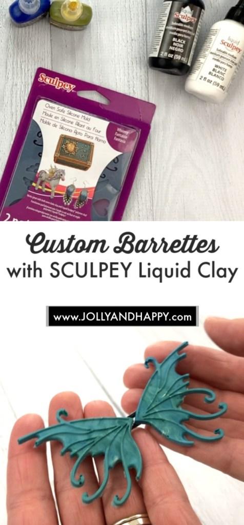 custom barrettes with Sculpey liquid clay