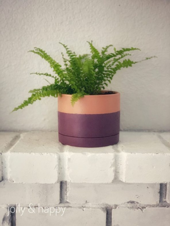 DIY color block pot with DecoArt Suede paint