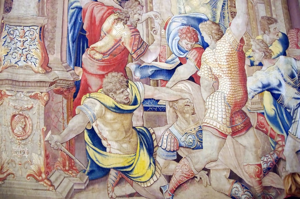 A tapestry in the Vatican depicting the Assassination of Caesar (Credit: Pixabay)