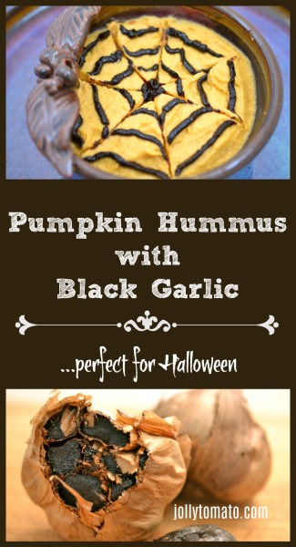 Pumpkin hummus with black garlic - perfect for Halloween!