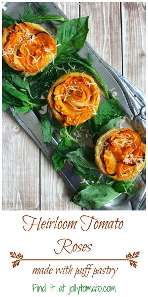 Heirloom tomato roses made with puff pastry