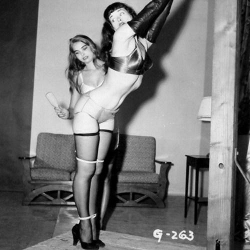 Bondage Betty standing spanked