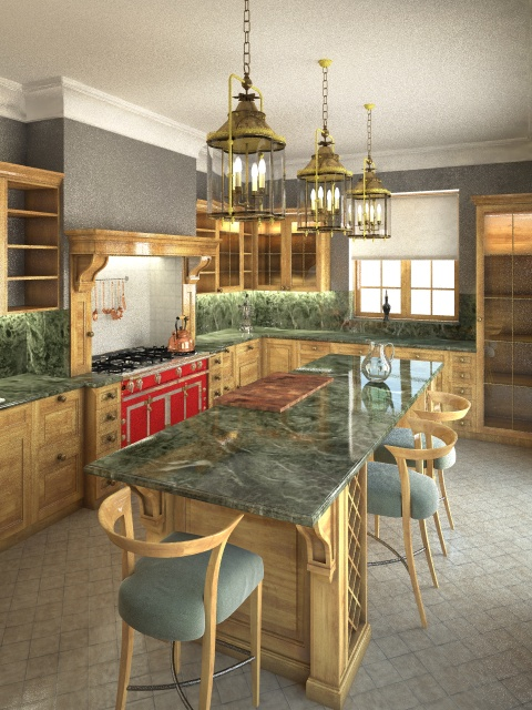 Kitchen full view, green marble version with light wood cabinets