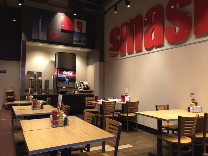 Inside Smashburger.