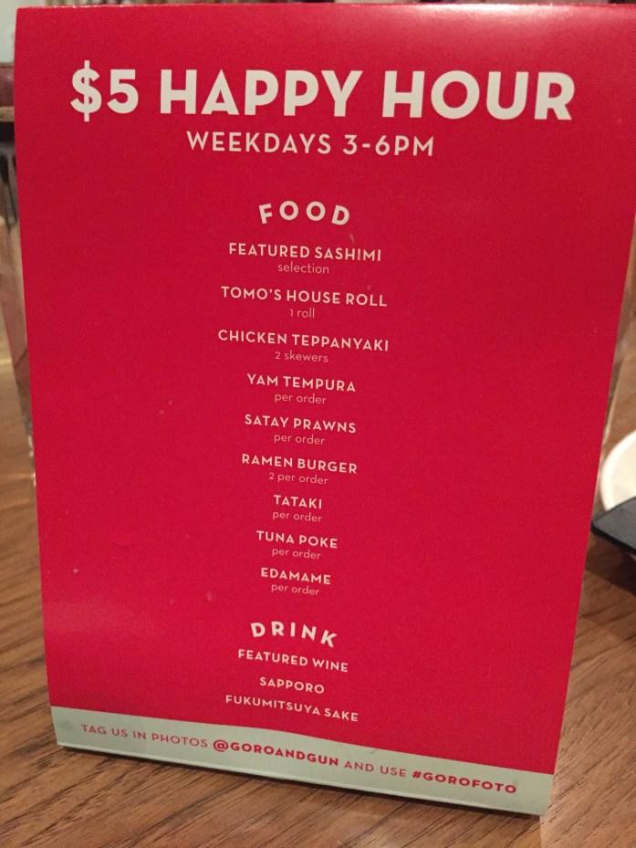Happy Hour menu @ Goro + Gun.