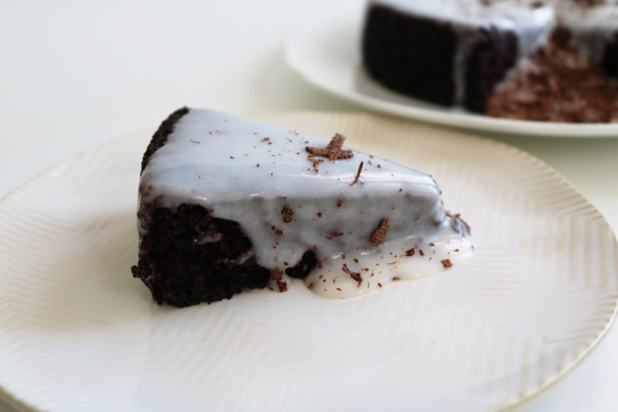 Vegan chocolate cake with coconut yogurt glaze