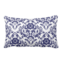 Blue Floral Traditional Pattern Lumbar Pillow - Jomazzle