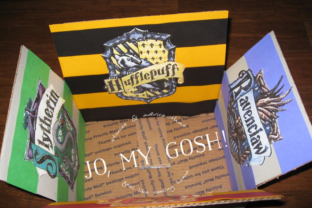 A Harry Potter themed care package with all of the houses of Hogwarts-- Hufflepuff, Ravenclaw, Gryffindor, and Slytherin. Comes with ideas of themed snacks and gifts, too. (1)