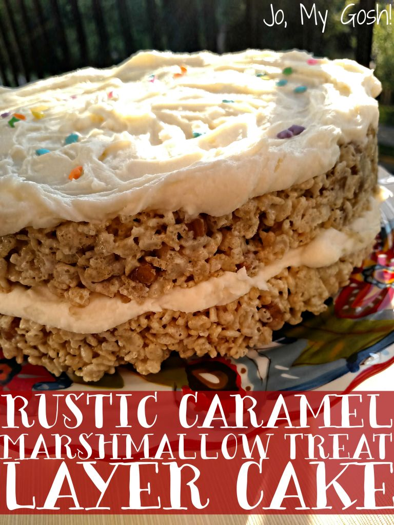 Love this rustic rice crispy treat cake! The cream cheese frosting recipe is to die for!