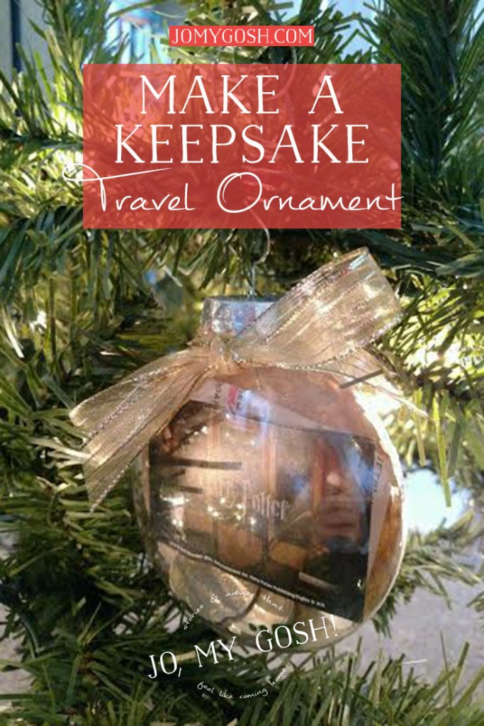An easy way to save and display ticket stubs, coins, and other small mementos from a trip. Love this ornament idea!