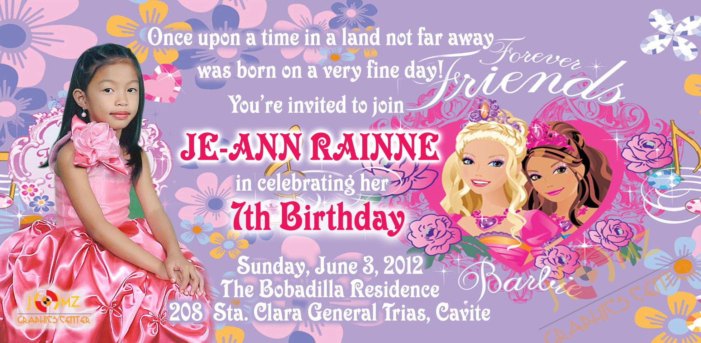 je ann rainne 7th birthday invitation