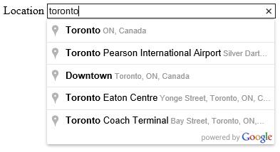 Google Maps AutoComplete API