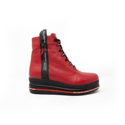 wedge red boots